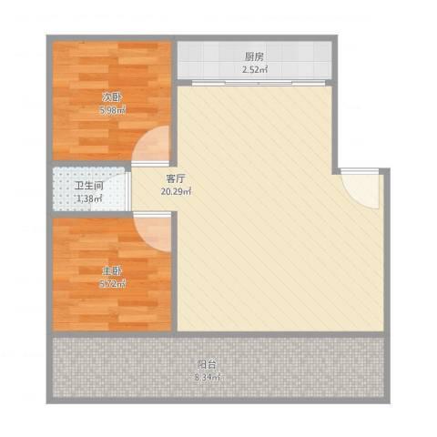绿景嘉园2室1厅1卫1厨61.00㎡户型图