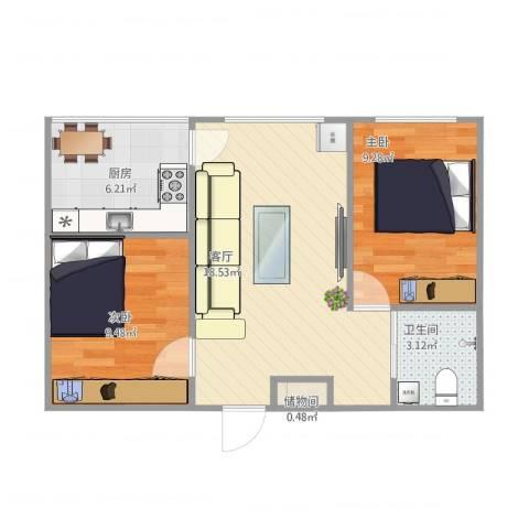 香洲田园城2室1厅1卫1厨64.00㎡户型图