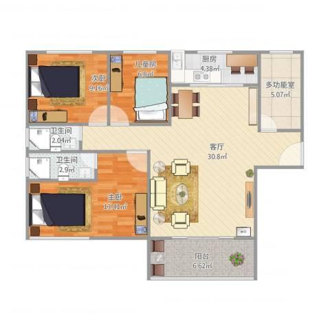 云山熹景3室1厅2卫1厨110.00㎡户型图