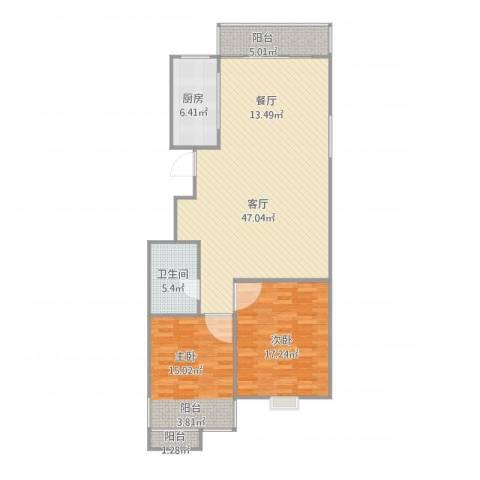 东新园望景苑2室1厅1卫1厨130.00㎡户型图