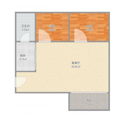 东方广场2室1厅1卫1厨91.00㎡户型图