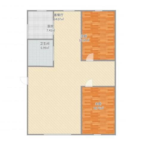 富云新都(东区)2室1厅1卫1厨148.00㎡户型图