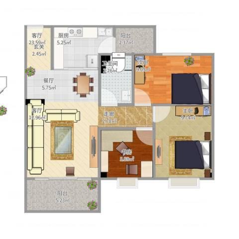 东华花园3室1厅1卫1厨89.00㎡户型图