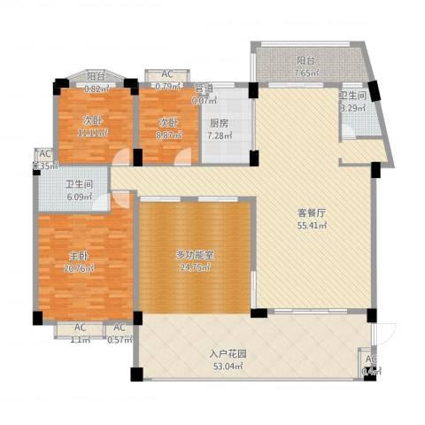 绿湖爱伦堡3室1厅2卫1厨247.00㎡户型图