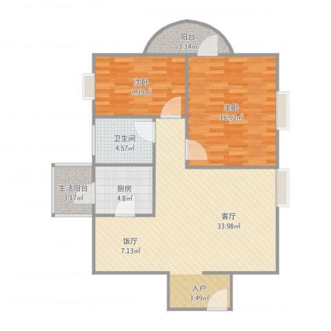 华景西苑-5栋5A2室1厅1卫1厨102.00㎡户型图