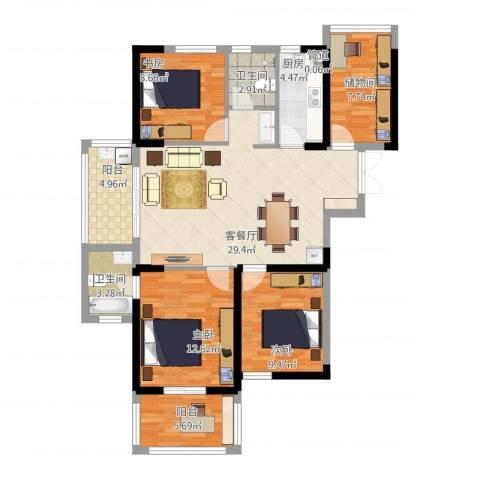 新加坡花园城3室1厅2卫1厨128.00㎡户型图