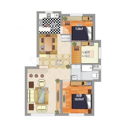 自由向3室1厅2卫1厨86.00㎡户型图
