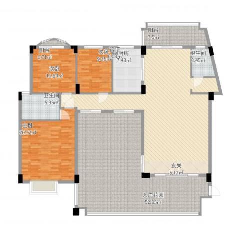 绿湖爱伦堡3室1厅2卫1厨242.00㎡户型图