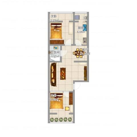 车站中里2室1厅1卫1厨60.00㎡户型图