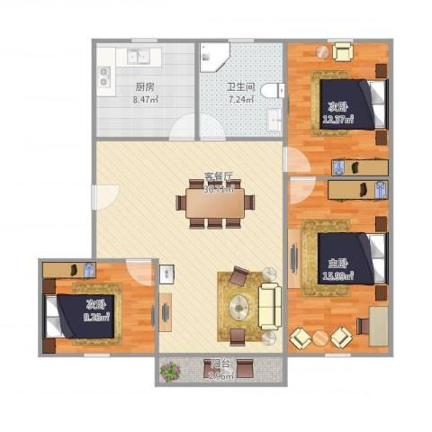 周康二村94平235万3-2-13室1厅1卫1厨116.00㎡户型图