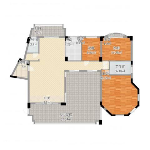 绿湖爱伦堡3室1厅2卫1厨262.00㎡户型图
