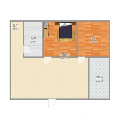 都景园2室1厅1卫1厨105.00㎡户型图