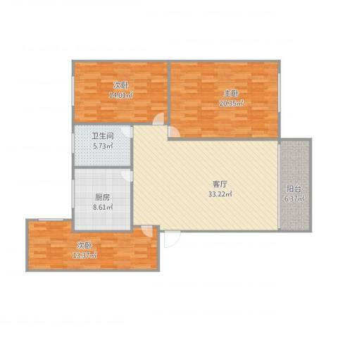 华景苑3室1厅1卫1厨135.00㎡户型图