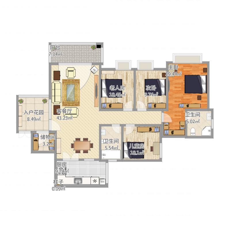 军安卫士花园157方4室2厅2卫1厨