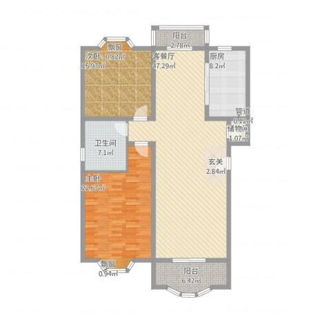 上海新城2室1厅1卫1厨157.00㎡户型图