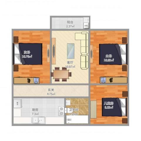 阳山花苑3室1厅1卫1厨80.00㎡户型图