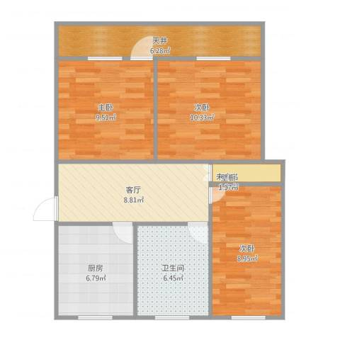 临江二村3室1厅1卫1厨80.00㎡户型图