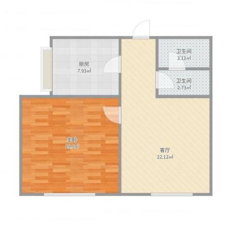 居华里1室1厅2卫1厨74.00㎡户型图