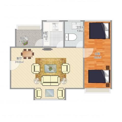 凯德嘉博名邸1室1厅1卫1厨90.00㎡户型图