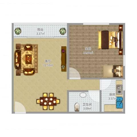 湖滨四里1室1厅1卫1厨62.00㎡户型图