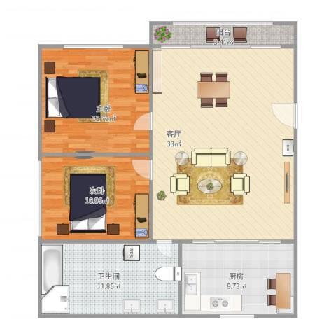 由由世纪苑2室1厅1卫1厨110.00㎡户型图