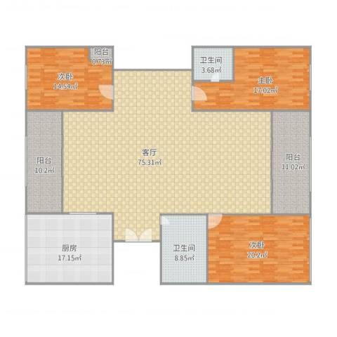 银河湾1233室1厅2卫1厨234.00㎡户型图