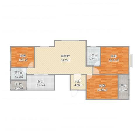 光信国信嘉园3室1厅2卫1厨142.00㎡户型图