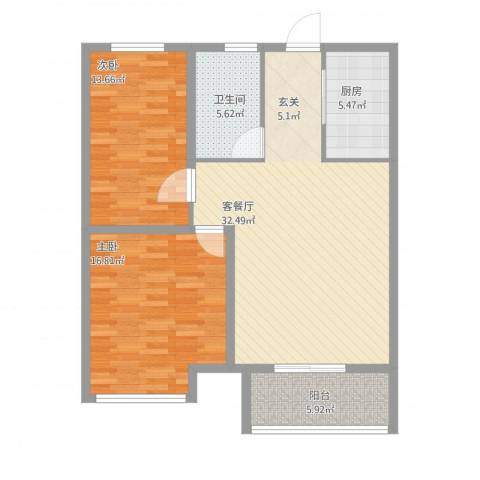 怡和四季园筑2室1厅1卫1厨112.00㎡户型图