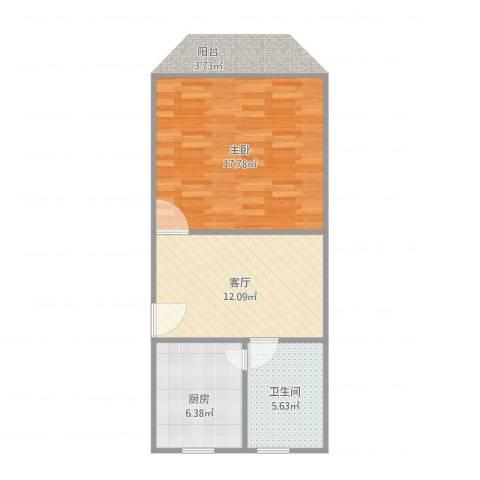 由由六村1室1厅1卫1厨56.00㎡户型图