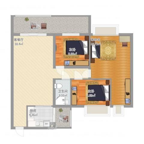 万威美地2室1厅1卫1厨126.00㎡户型图