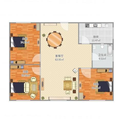 仁恒广场3室1厅1卫1厨200.00㎡户型图