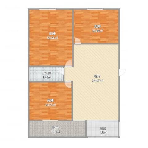 桃花园3室1厅1卫1厨134.00㎡户型图