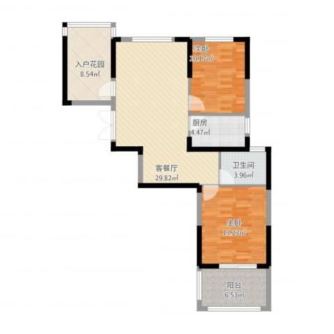 新加坡花园城2室1厅1卫1厨105.00㎡户型图