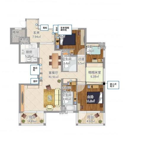 水月周庄3室1厅6卫3厨158.00㎡户型图