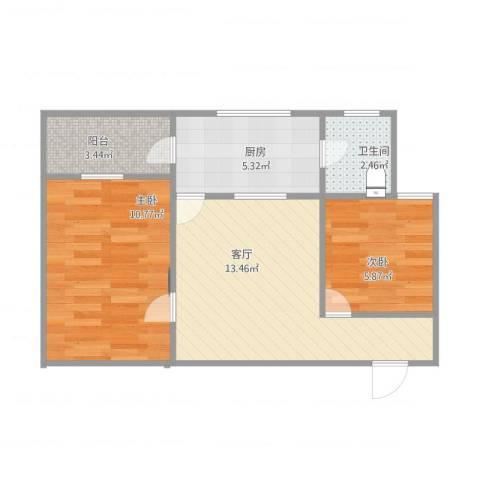岐丰广场2室1厅1卫1厨57.00㎡户型图