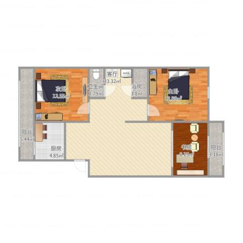天达里3室1厅2卫1厨115.00㎡户型图