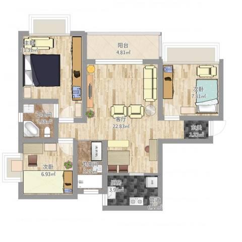 武陵富华大厦3室1厅3卫1厨94.00㎡户型图