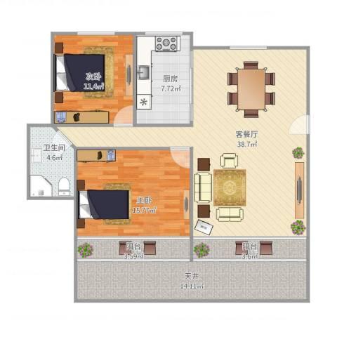 叠翠苑2室1厅1卫1厨134.00㎡户型图