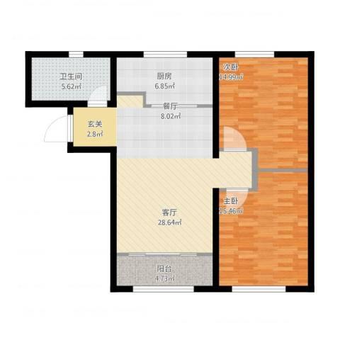 中海八里臺2室1厅1卫1厨108.00㎡户型图