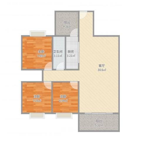 康格斯花园3室1厅1卫1厨92.00㎡户型图