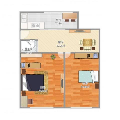 南新四村15号6012室1厅1卫1厨73.00㎡户型图