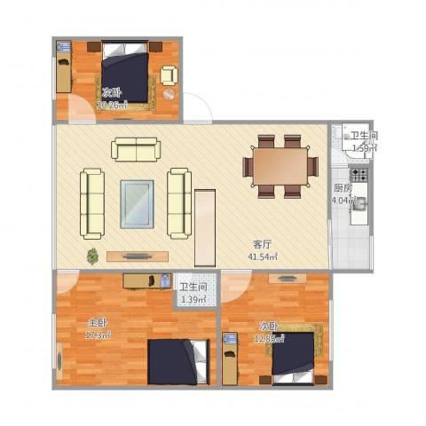 雅居庭3室1厅2卫1厨118.00㎡户型图