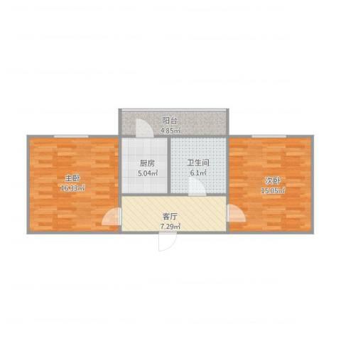 红波西里2室1厅1卫1厨74.00㎡户型图