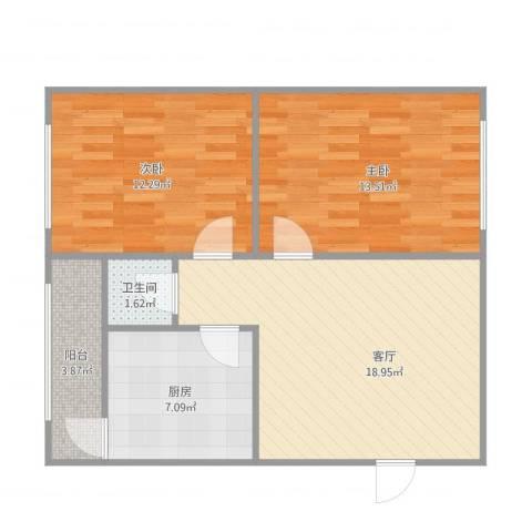 长征街房管局宿舍2室1厅1卫1厨77.00㎡户型图