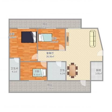 御景城市花园紫竹轩1座3033室1厅2卫1厨156.00㎡户型图