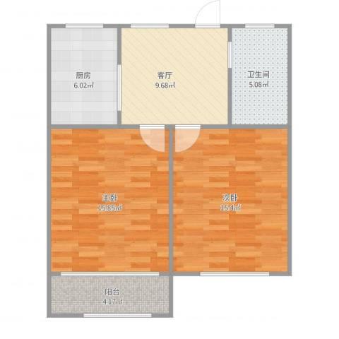 博山小区50弄108号2022室1厅1卫1厨76.00㎡户型图