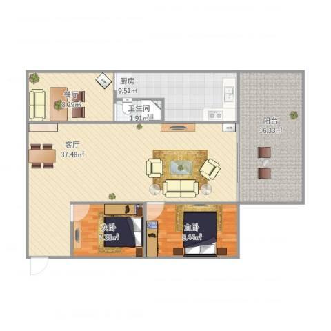 嘉禾新城2室2厅1卫1厨121.00㎡户型图