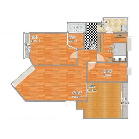 城市假日花园4室1厅2卫1厨122.00㎡户型图