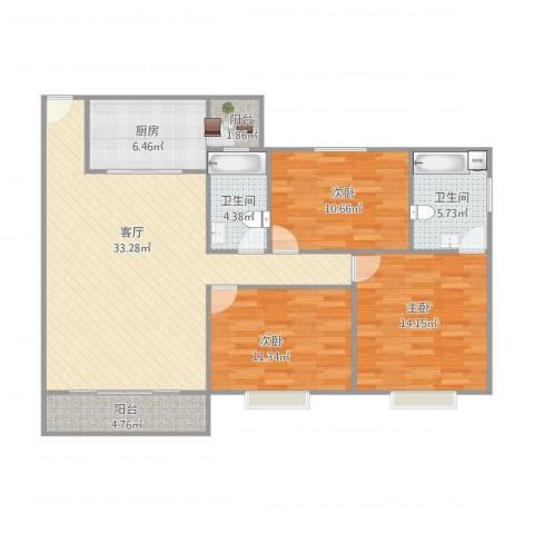 康格斯花园3室1厅2卫1厨125.00㎡户型图