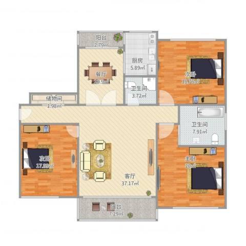 华南名苑3房3室2厅2卫1厨180.00㎡户型图